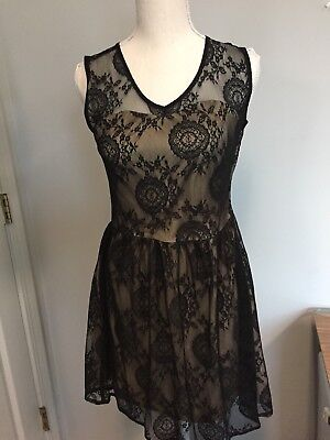 Ixia Black Lace Lined Cut Out Sexy Cute Junior Mini Dress Size Med