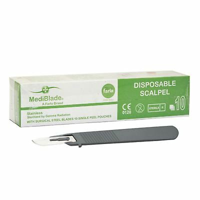 Disposable Sterile Stainless Steel Surgical Scalpels - Packs of 10 - All Sizes