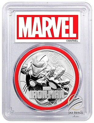 2018 Tuvalu IRON MAN 1 oz Silver Marvel PCGS MS69 FS Red Gasket MARVEL LABEL