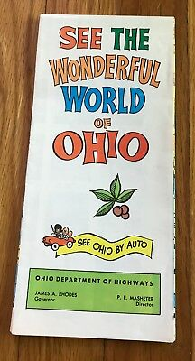Vtg 1966 See The Wonderful World Of Ohio Colored Cartoon Map