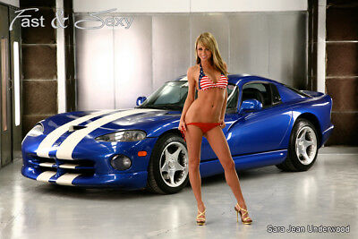 Sara Jean Underwood Dodge Viper Fast & Sexy Poster - Hot Bikini Playboy Model