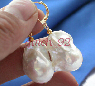 Real Huge Aaa South Sea White Baroque Pearl Earring #92