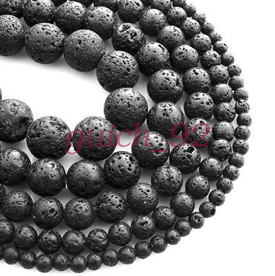 Natural Black Volcanic Lava Gemstone Round Beads 15.5'' 4mm 6mm 8mm 10mm #92