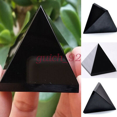 Reiki Energy Charged Black Obsidian Pyramid Crystal Protective Healing #92