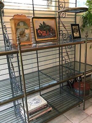 Antique French Bakers Rack, Brass and Wrought Iron with Glass Lined Shelves