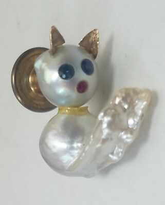 Vintage 14k Yellow Gold Baroque Pearl Blue Sapphire Ruby Cat Kitten Feline Pin