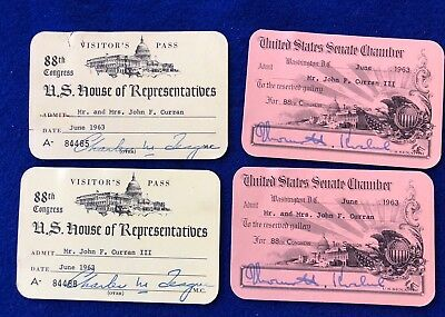 4 -  1963 U. S. Senate & House Chamber Pass 88Th Congress Signed Teague Kuchel