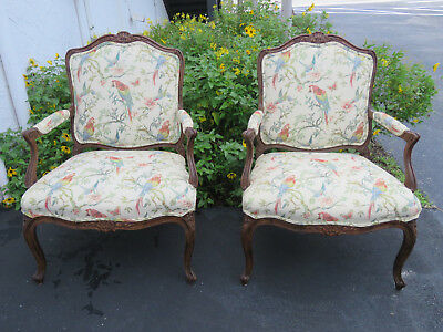 French Pair of Carved Large Fireplace Side Chairs by The Schoonbeck Company 9008
