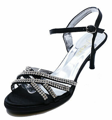 Womens Black Diamante Sandals Elegant Wedding Party Evening Prom Shoes Uk 3-8