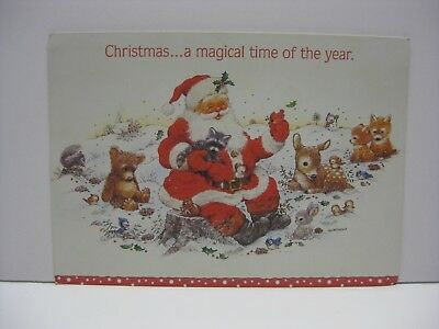 Santa Claus Sitting in Snow with Animals Christmas Greeting Card