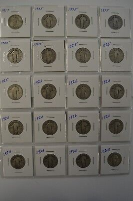 LOT: (20) Standing Liberty 25C -Dates: 1917-1926 - See Photos - Mixed Mint Marks