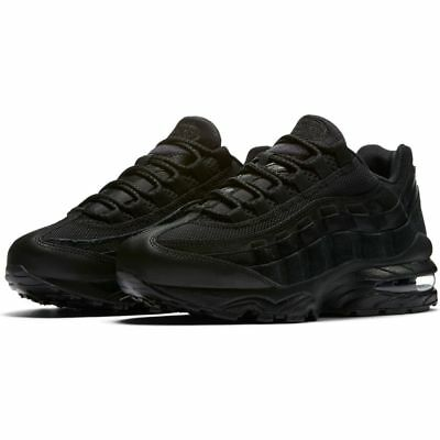 Nike Air Max 95 Gs 307565-055 Leather Black On Black Youth Boys Girls Retro 90