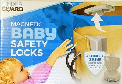 Kinder Guard Magnetic Baby Safety Locks 4 Locks 2 Keys