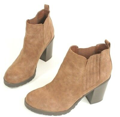 044bcc627d SAM & LIBBY Womens Boots Ankle Chunky Heel Leather Brown Size 10 ...