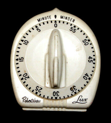 Vintage Robertshaw LUX Minute Minder White Rotary Kitchen Timer with Bell USA