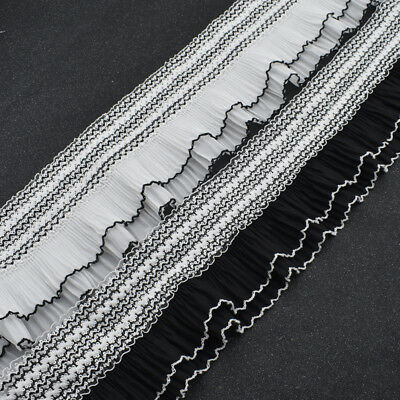 """White 2/"""" gathered Lace Bridal Clothing Craft Scrapbooking Towels Dolls 2 yd #702"""
