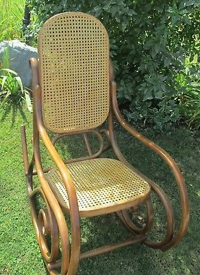 Vintage Signed Thonet  Bentwood Arm Cane Rocker Rocking Chair Mid Century Modern