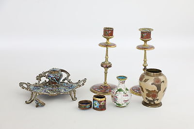 7 Vintage CLOISONNE Decorative Items Inc. Cloisonne/Brass Candlesticks & Inkwell