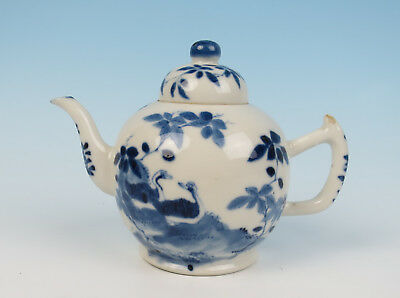 Antique 19thC. Small Teapot Chinese Blue & White Porcelain Ducks Birds Tree