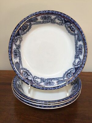 Wilkinson Royal Staffordshire RENOWN Flow Blue Coupe Soup Bowl ~ Set of 4