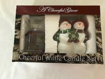 Cheerful Giver Willie Candle Set Holiday Homecoming 6 Ounce Candle & Snowman NIB