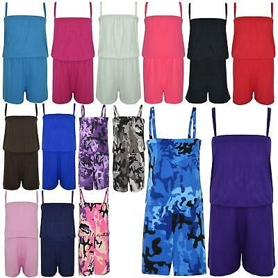 Kids Girls Plain Color Playsuit Trendy Summer All In One Jumpsuit New Age 5-13 Y