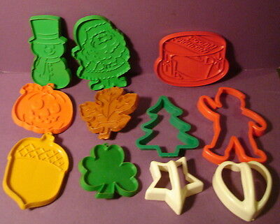 Vintage Cookie Cutters Lot of 11 including Hallmark Holiday Fall, Christmas, etc