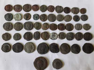 Lot Of 50 Ancient Bronze Roman Coins  Uncleaned