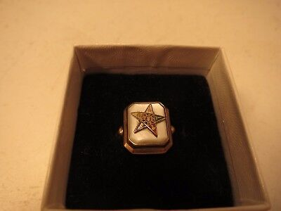 ANTIQUE Vintage 10K YELLOW GOLD ENAMEL EASTERN STAR RING Mother of Pearl Sz 4.5
