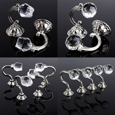Rose/Round Crystal Chrome Tie Back Hooks for Fabric Curtains Home Office Decor