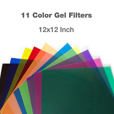 "11pcs 12""x12"" Color Gel Lighting Filter Transparent Color Film Plastic Sheets"
