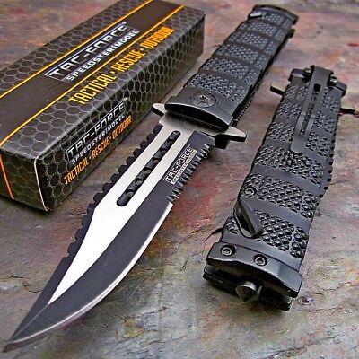 Tac-Force Black Spring Assisted Open Sawback Bowie Tactical Rescue Pocket Knife