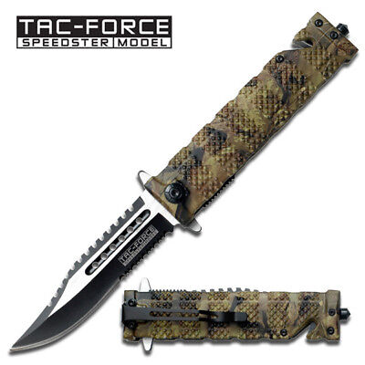 Tac-Force Spring Assisted Open Sawback Bowie Rescue Camo Tactical Pocket Knife
