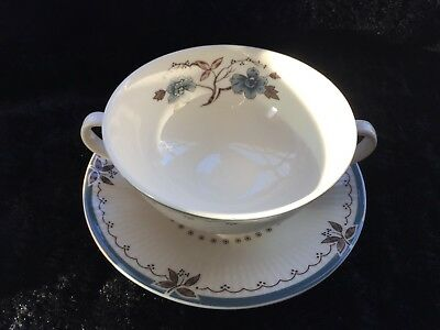 Royal Doulton Old Colony Cream Soup Bowl with Saucer TC 1005 Double Handles