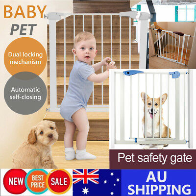 AU 79cm Tall Baby Safety Security Gate Adjustable Pet Dog Stair Barrier Cat Door