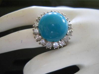 Vintage Sterling Ring Faux Turquoise Cabochon  Dujay Rare Mark Signed