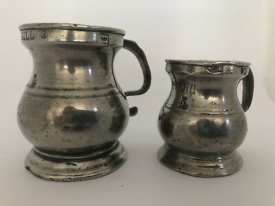Antique Old 19th Century Gill and Half Gill Measure Pair Free Shipping