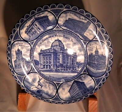 Nice flow blue plate from Isaac Benesch & Son Co. Wilkes Barre, PA Staffordshire