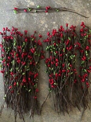 """Set of 50 ~ 7"""" 7 inch CHRISTMAS RED/GREEN Pip Berry Garland Picks Country Craft"""