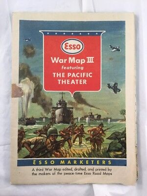 Original Vintage 1940's WW2 OIL GAS ESSO Fold Out Map III The Pacific Theater