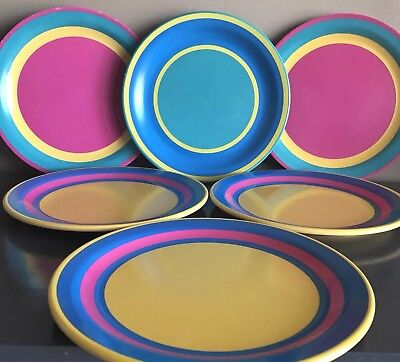 Vintage Dallas Ware Dinner Plates 10 1/2in Set Of 6 Pink Turquoise Yellow Bright