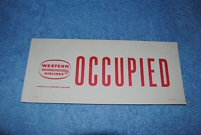 Vintage Western Airlines OCCUPIED Seat Card Tag Sign Two Sided