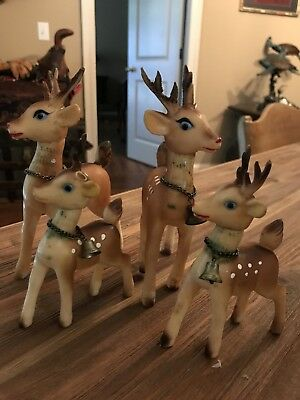 Set Of Four Vintage Rubber Reindeer