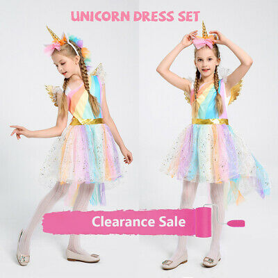 AU Kid Girl Book Week Fairy Unicorn Costume Fancy Dress Cosplay Party Suit Gift