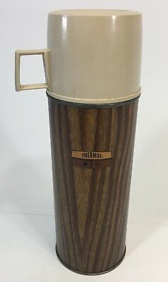 VINTAGE THERMOS WOOD GRAIN DESIGN GLASS LINED USA VACUUM BOTTLE PINT size 10 in