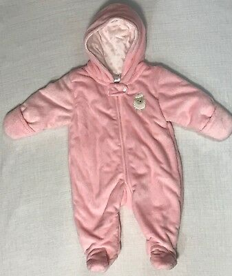 cfde8d4708ef CARTERS CHILD OF Mine Bunting Snow Suit Infant Baby Hooded Pink 3-6 ...