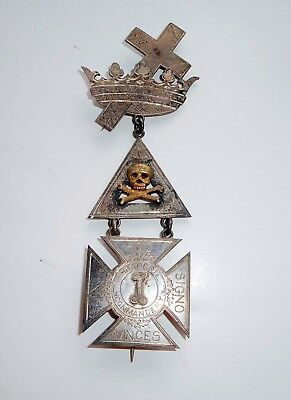 ANTIQUE 1800s MASONIC KNIGHTS TEMPLAR 3 PC MEDAL SKULL CROSSBONES CROSS & CROWN