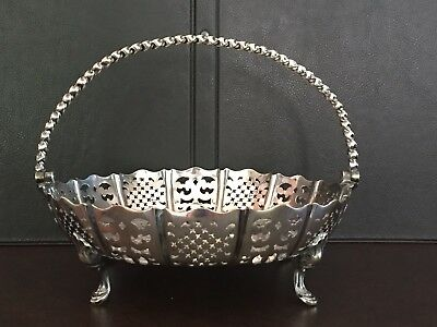 Antique Henry Wilkinson & Co Silver Electroplate Footed Basket Tray Mid 1800s