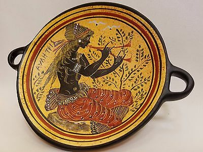 Auletris Greek Mythology Rare Hellenic Ancient Art Pottery Tray Kylix
