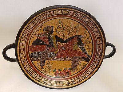 Dionysus Greek God Hellenic Ancient Art Pottery Tray Aged Kylix